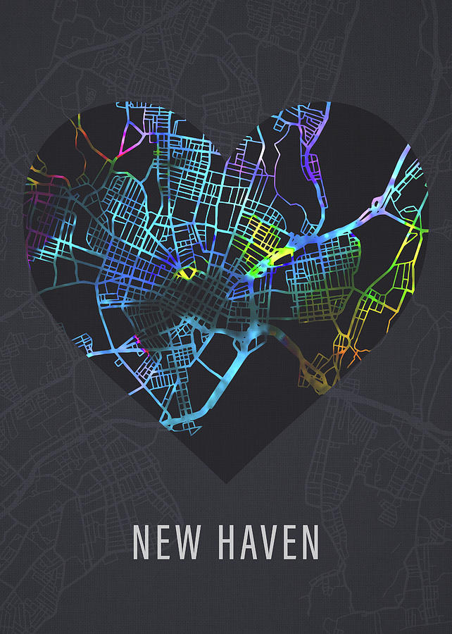 New Haven Mixed Media - New Haven Connecticut City Heart Street Map Dark Mode Series by Design Turnpike