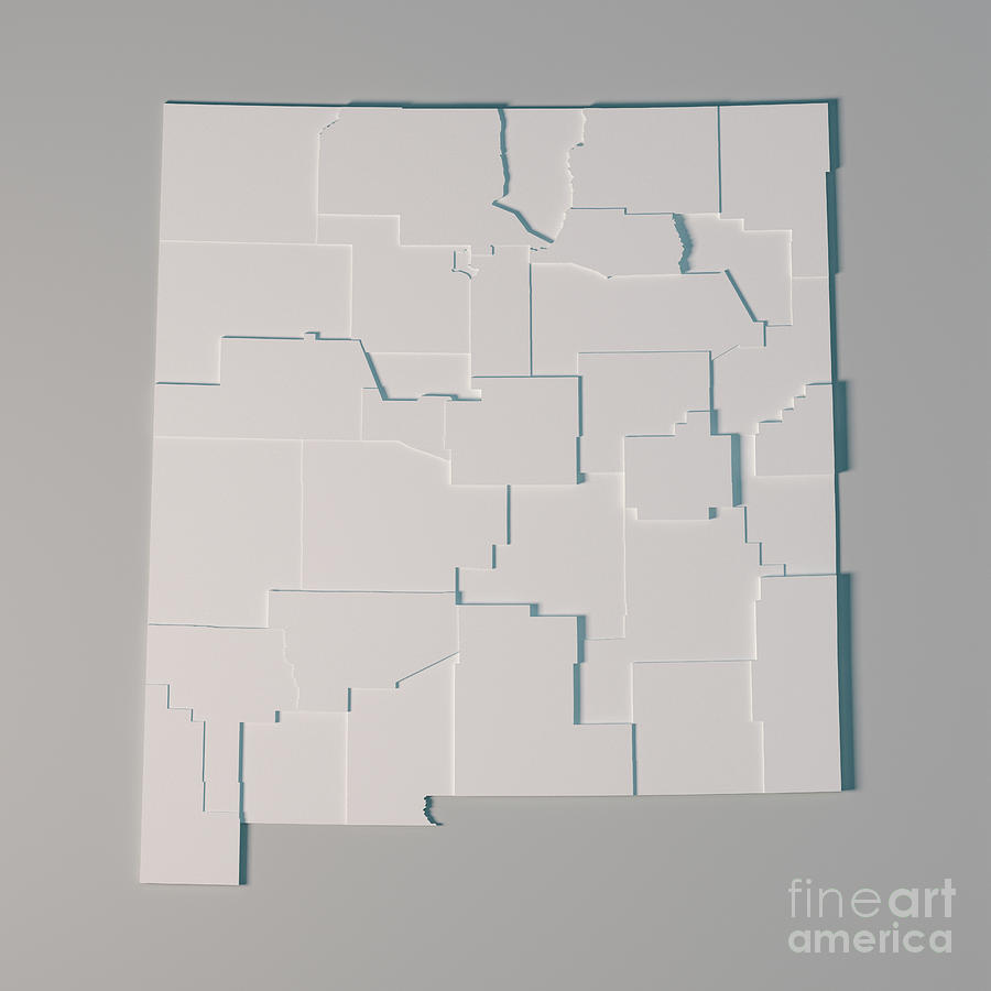 New Mexico Us State Map Administrative Divisions Counties 3d Ren ...