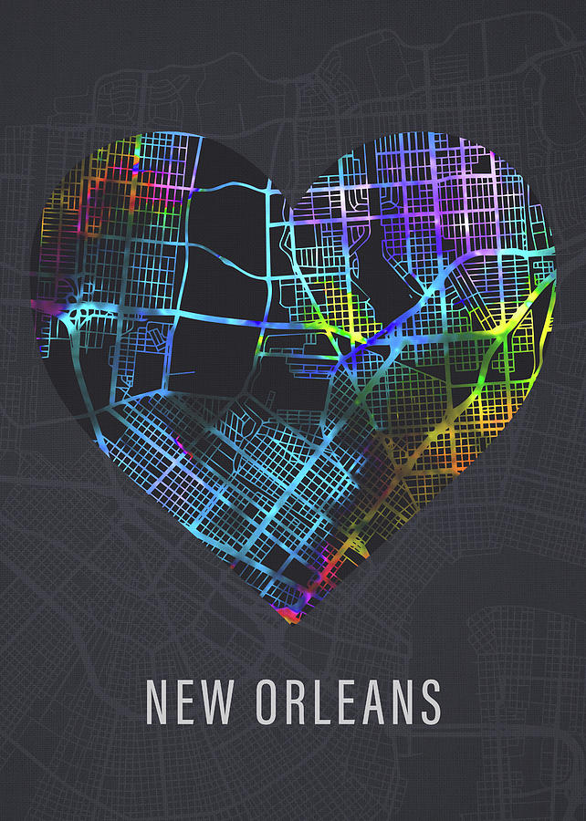 New Orleans Mixed Media - New Orleans Louisiana City Heart Street Map Dark Mode Series by Design Turnpike