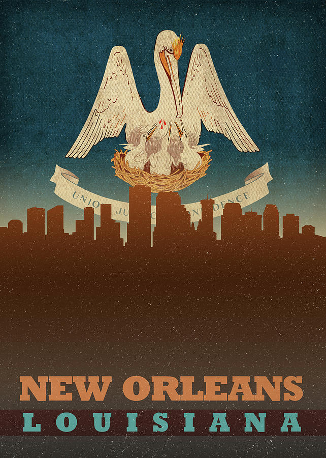 New Orleans Mixed Media - New Orleans Louisiana City Skyline Flag by Design Turnpike