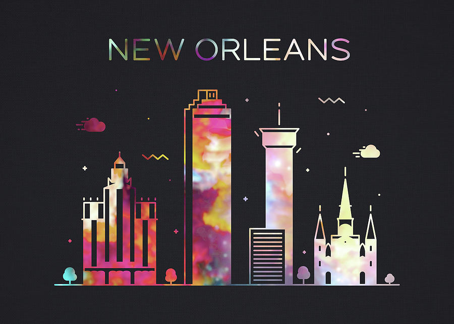 New Orleans Mixed Media - New Orleans Louisiana City Skyline Whimsical Fun Wide Dark by Design Turnpike