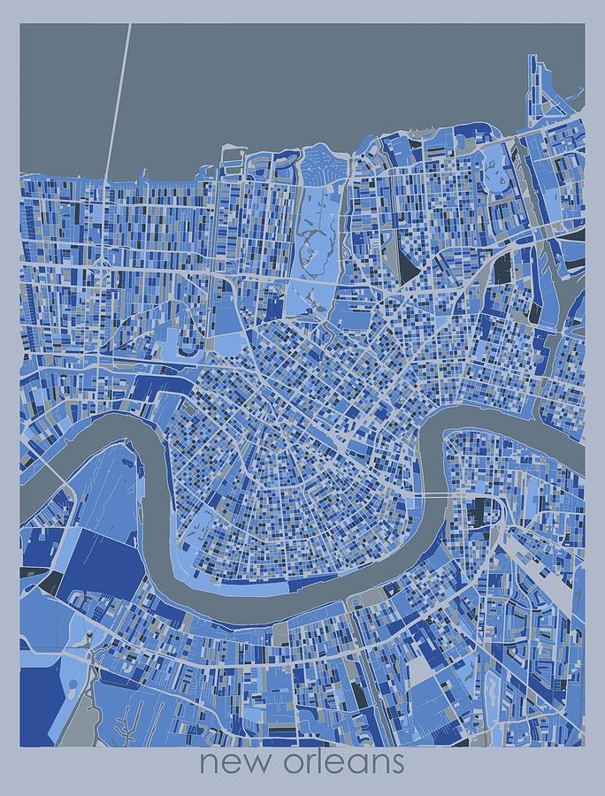 New Orleans Digital Art - New Orleans Map Retro 5 by Bekim M