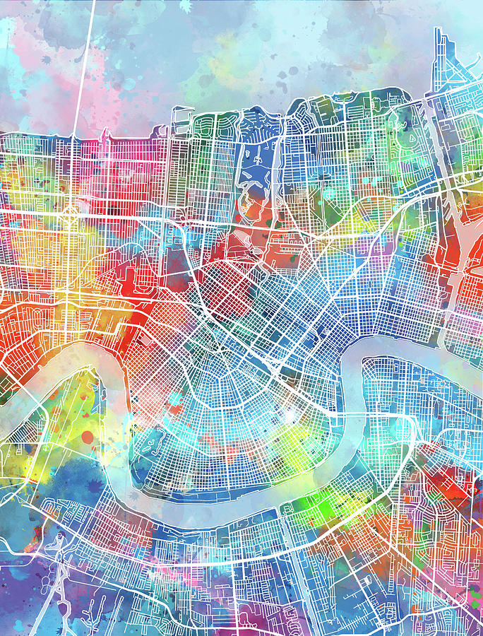 New Orleans Digital Art - New Orleans Map Watercolor by Bekim M