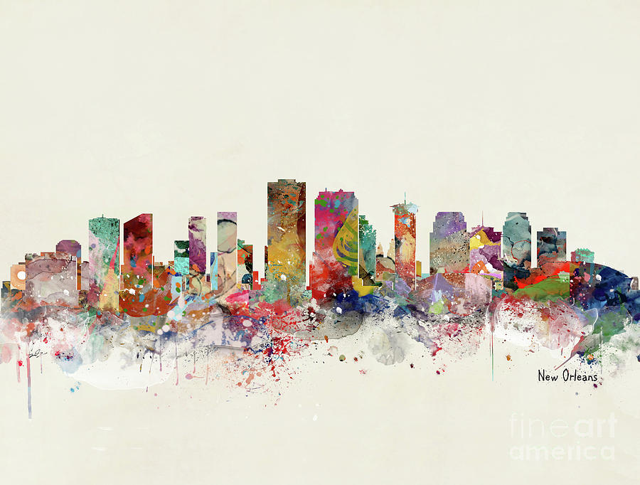 New Orleans Painting - New Orleans Skyline by Bri Buckley