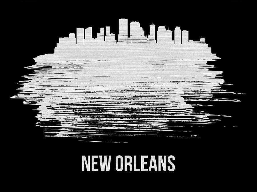 New Orleans Mixed Media - New Orleans Skyline Brush Stroke White by Naxart Studio