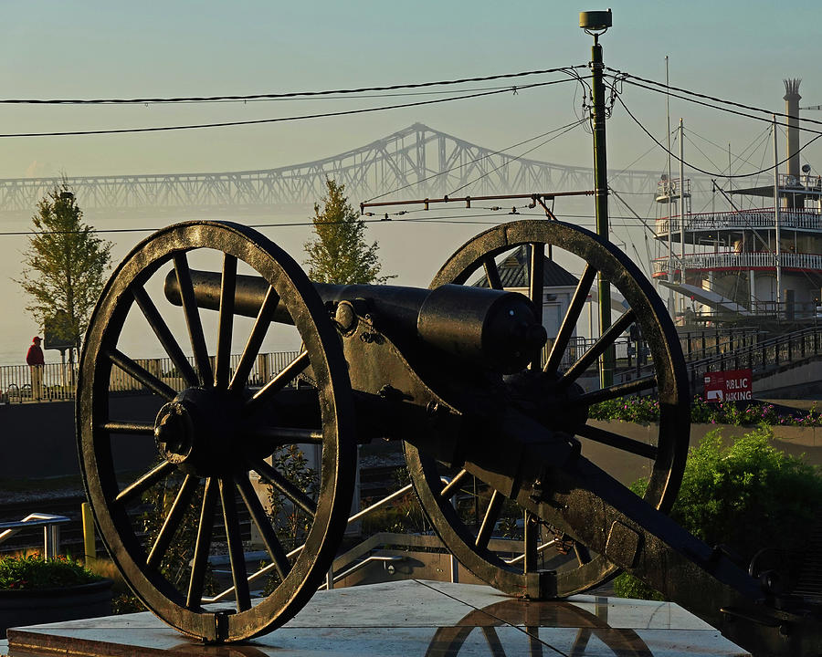 New Orleans Washington Artillery Park Memorial Cannon Crescent City Connection Bridge by Toby McGuire