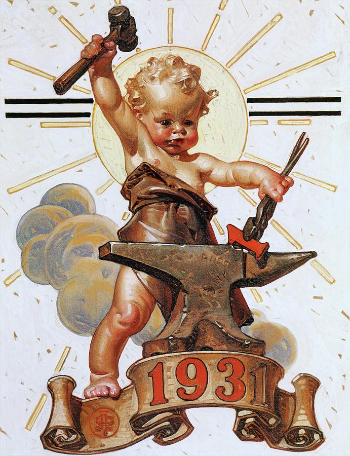Joseph Christian Leyendecker Painting - New Year Baby 1931 - Digital Remastered Edition by Joseph Christian Leyendecker