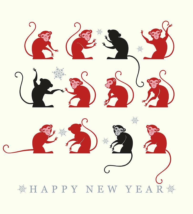New Year Card. 2016 Digital Art by Difinbeker