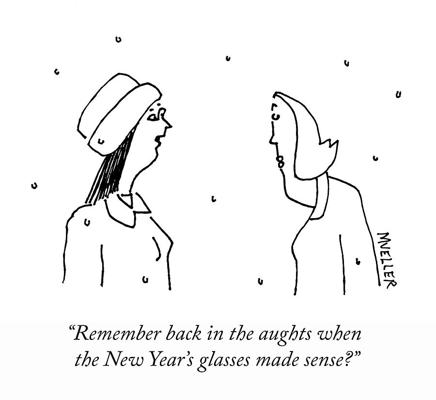 New Years Glasses Drawing by Peter Mueller