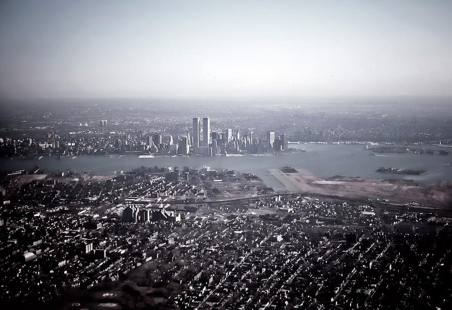 New York and Jersey City Aerial View 1984 by Kellice Swaggerty