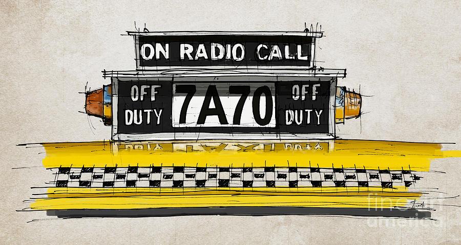 New York Cab Digital Art - New York Cab by Drawspots Illustrations