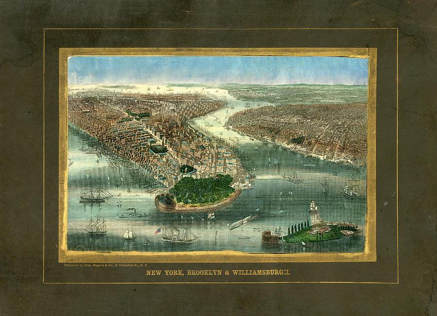 New York City 1850 To 1899 Birds Eye Digital Art by Historic Map Works Llc