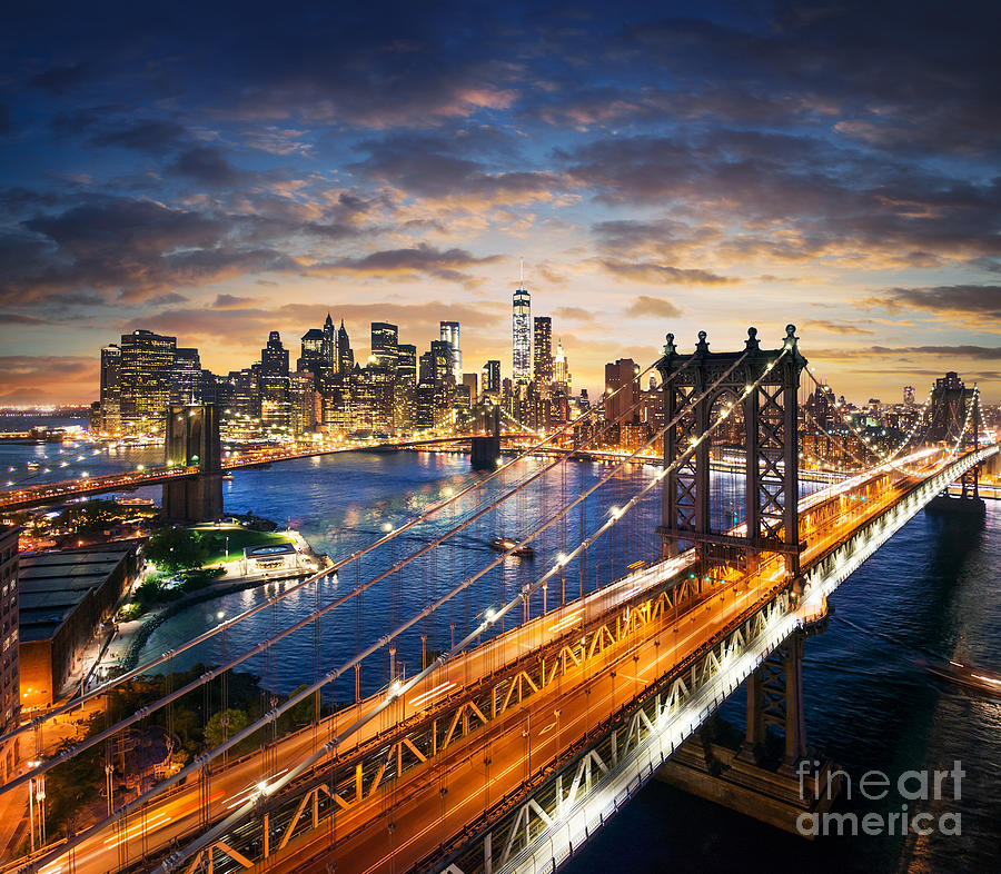 Usa Photograph - New York City - Manhattan After Sunset by Im photo