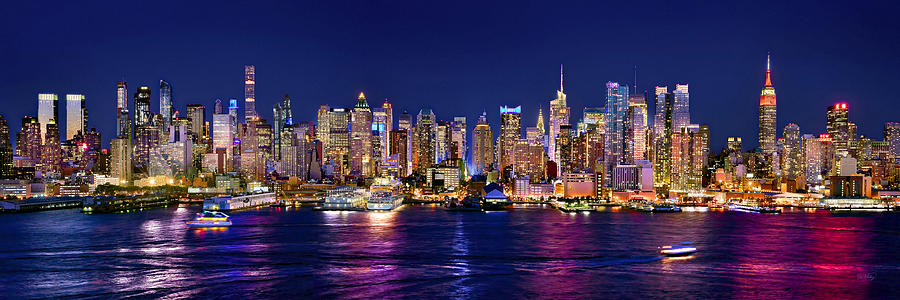 New York City Skyline Photograph - New York City NYC Midtown Manhattan at Night by Jon Holiday