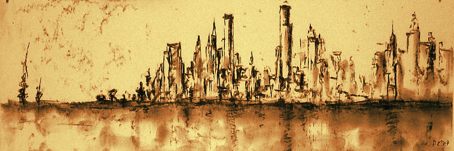 New York Painting - New York City Skyline 79 - Water Color Drawing by Peter Potter