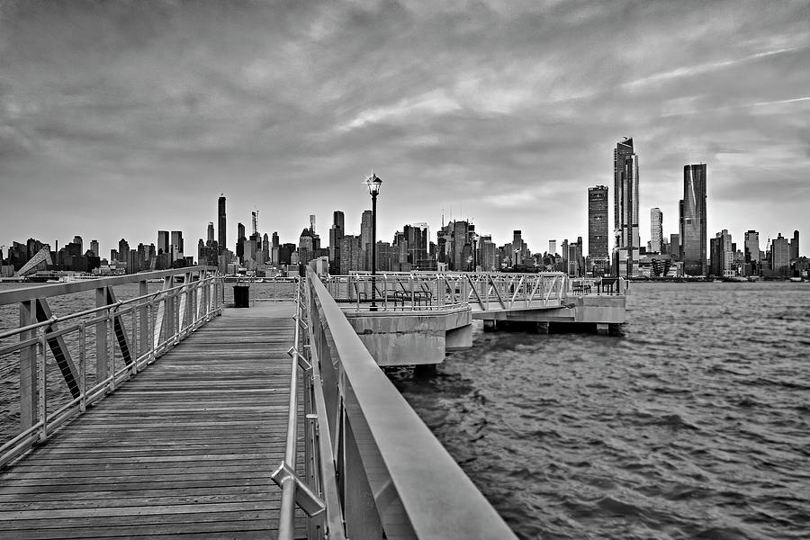 New York City Skyline in Pastels BW by Susan Candelario