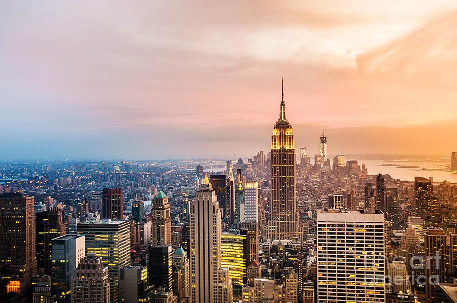 Usa Photograph - New York City Skyline With Urban by Cocozero