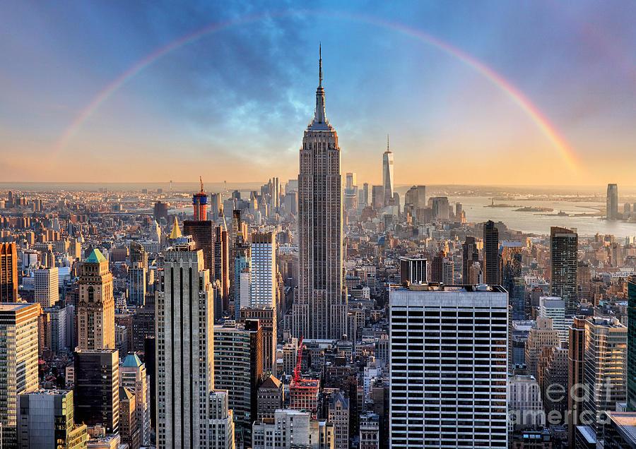 Usa Photograph - New York City Skyline With Urban by Ttstudio