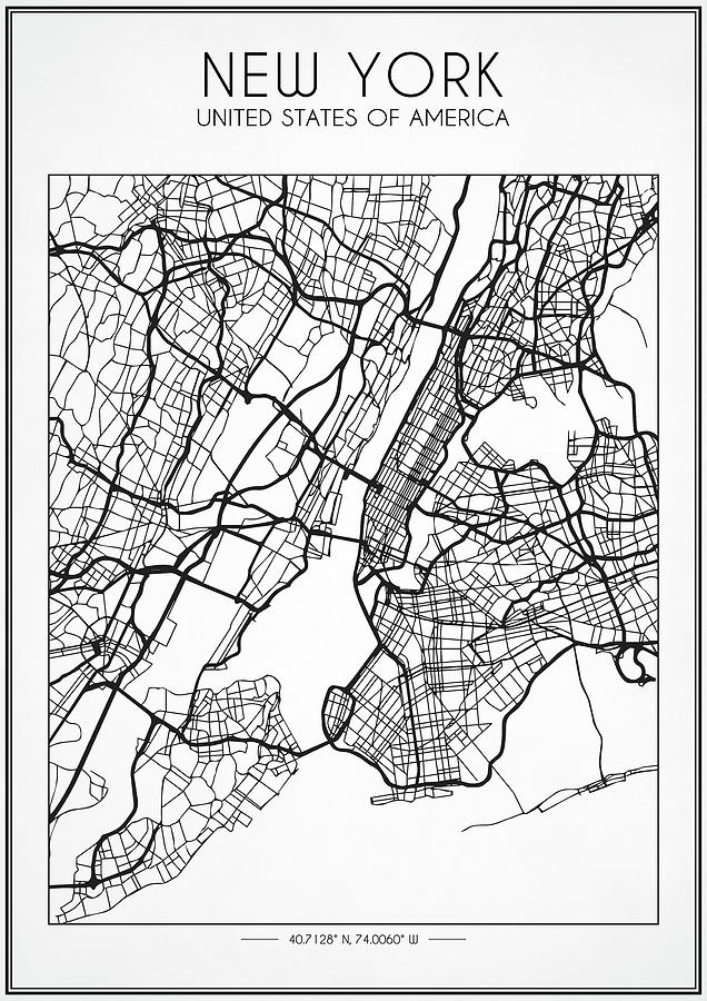 New York City Street Map by Zapista Zapista