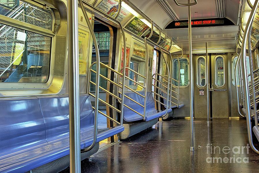 New York Subway Photograph - New York City Empty Subway Car by Zal Latzkovich