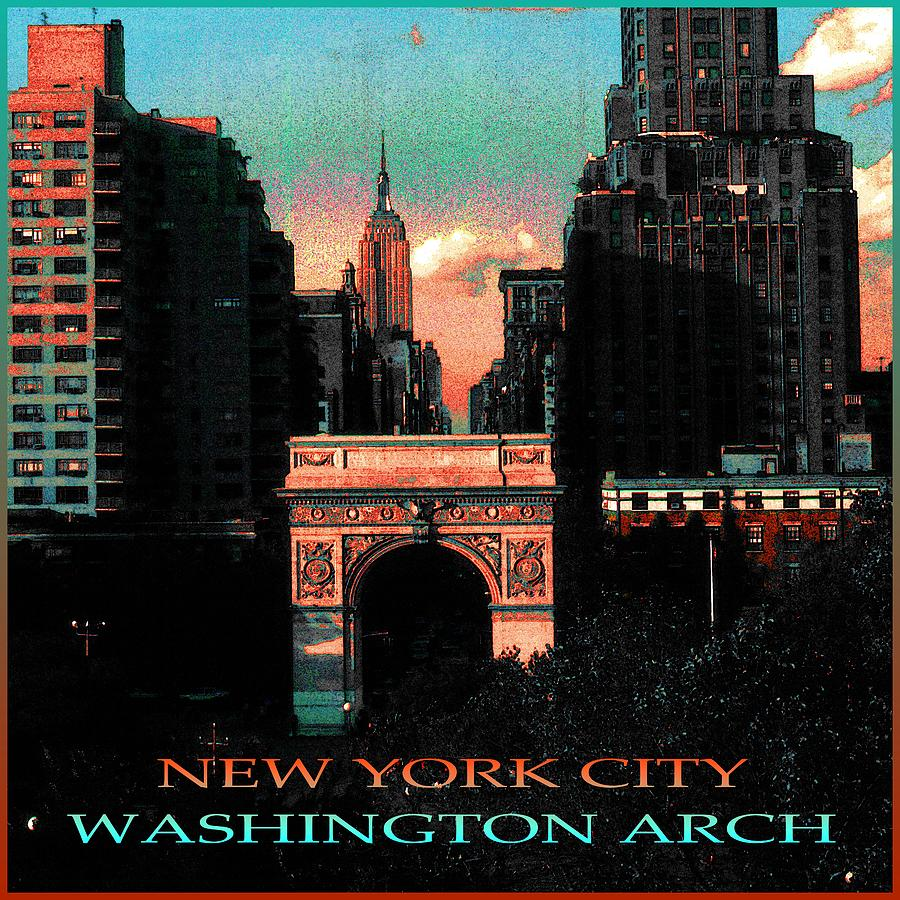 New York City Washington Arch Poster - Color Illustration by Peter Potter