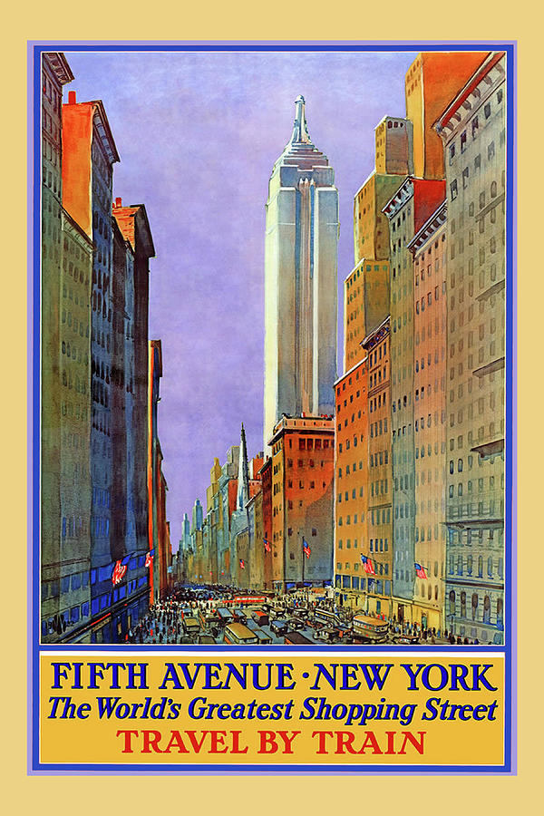 New York Fifth Avenue travel poster by Denise Beverly