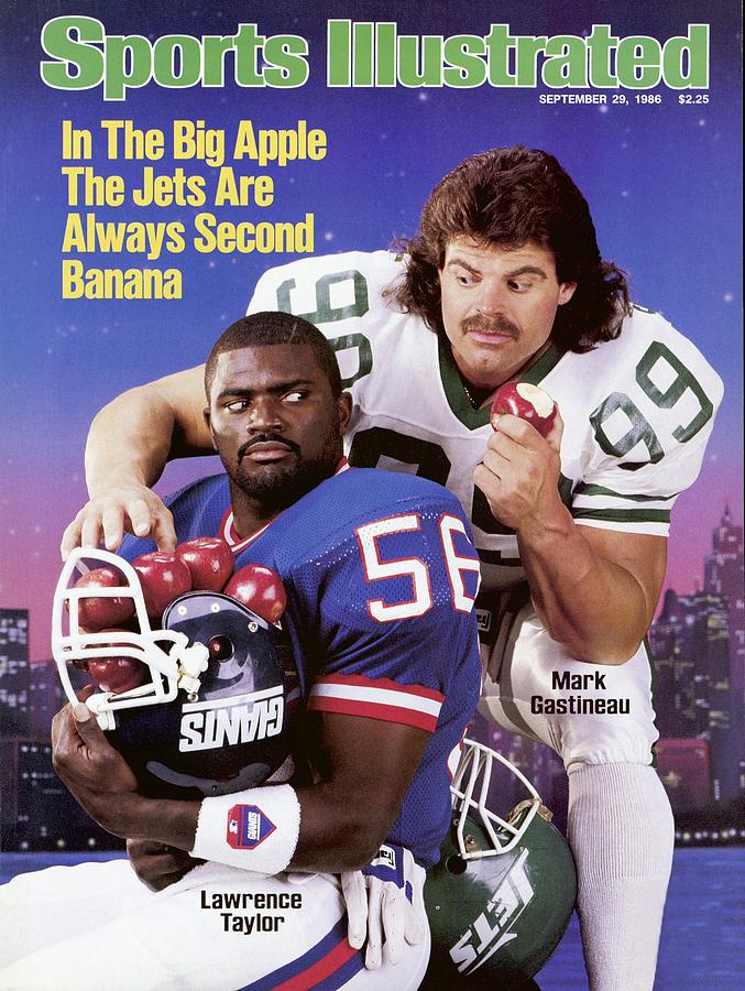 New York Giants Lawrence Taylor And New York Jets Mark Sports Illustrated Cover Photograph by Sports Illustrated