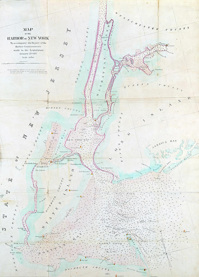 Map Of New York Harbour.Old Map Of New York Harbor 1857 By Dusty Maps