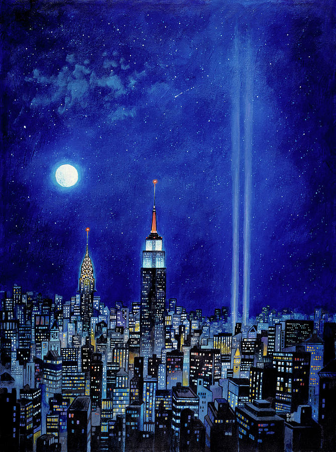 World Trade Center Painting - New York Lights 2002 by Bill Bell