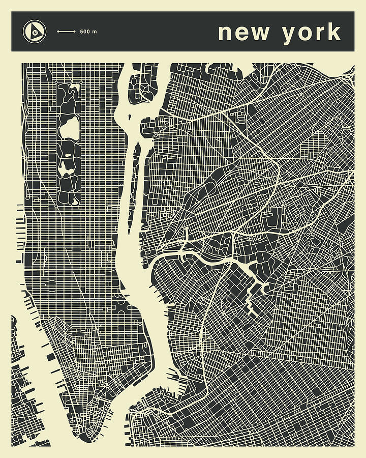 New York Map Digital Art - New York Map 3 by Jazzberry Blue