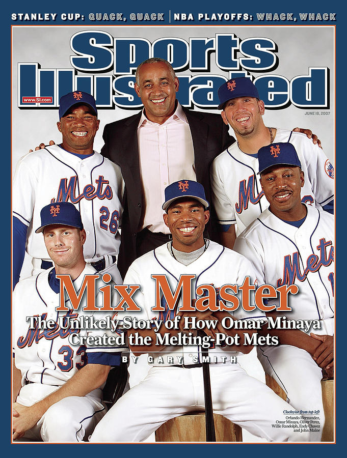New York Mets Gm Omar Minaya, Orlando Hernandez, Oliver Sports Illustrated Cover Photograph by Sports Illustrated