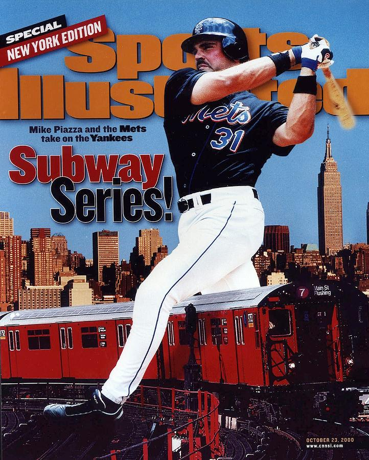 New York Mets Mike Piazza, 2000 Subway Series Sports Illustrated Cover Photograph by Sports Illustrated