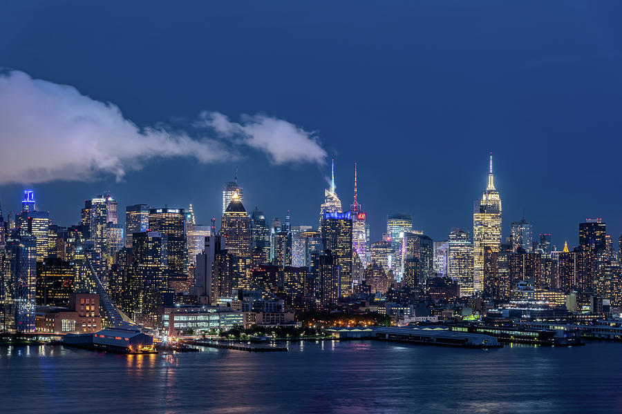 New York Skyline At Night Photograph