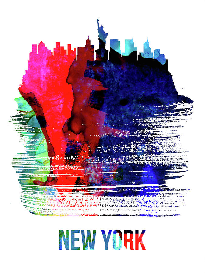 New York Mixed Media - New York Skyline Brush Stroke Watercolor   by Naxart Studio