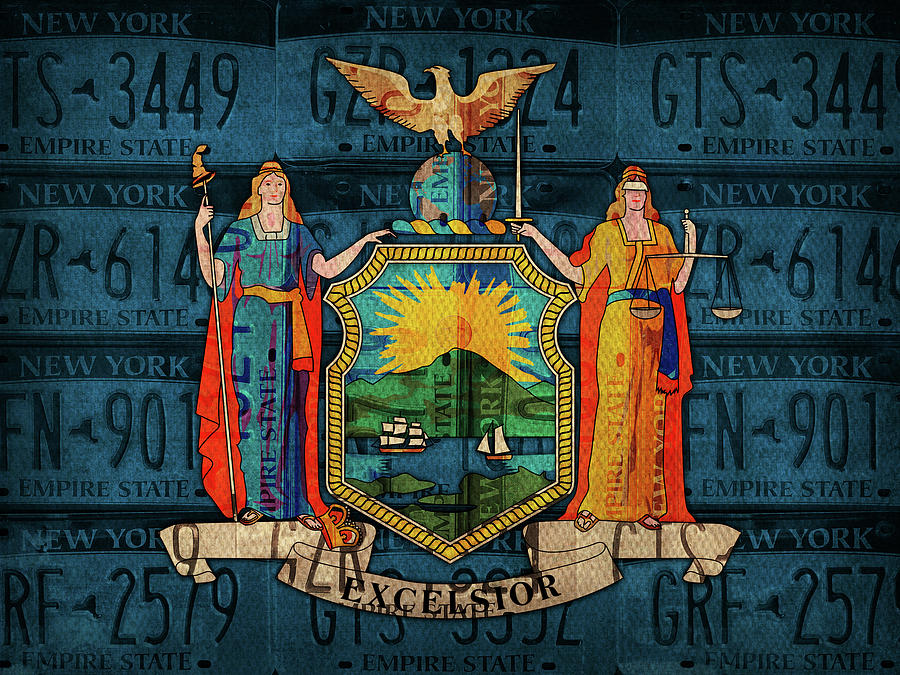 New York Mixed Media - New York State Flag License Plate Art by Design Turnpike