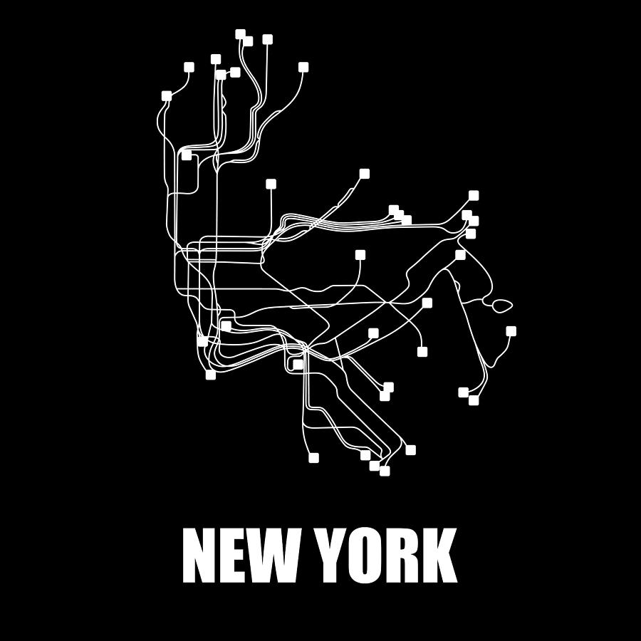 New York Digital Art - New York Subway Map by Naxart Studio