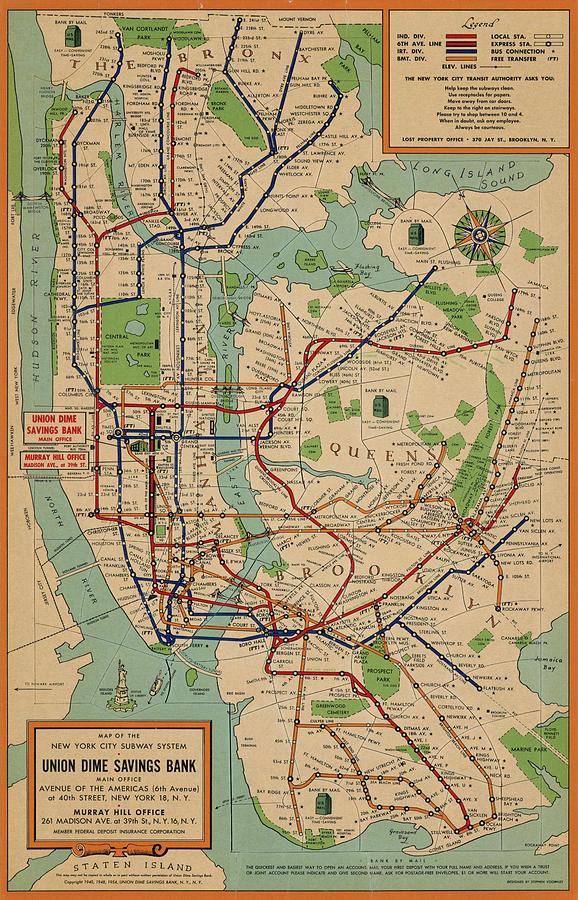 New York Subway Map Drawing By History Prints