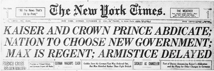 New York Times Headline Announcing Photograph by Bettmann