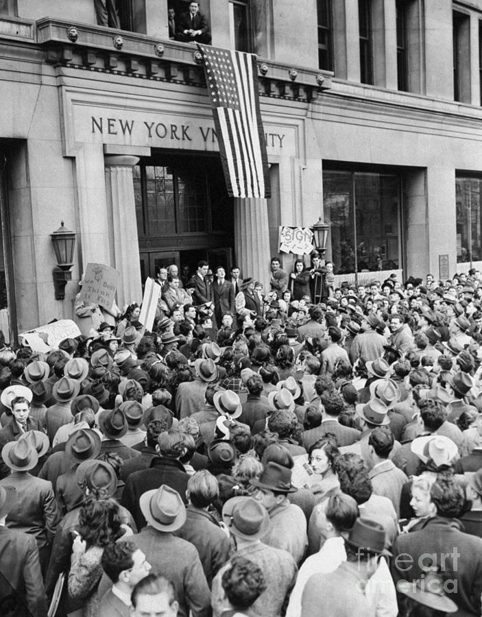 New York University Students Hold A Photograph by New York Daily News Archive