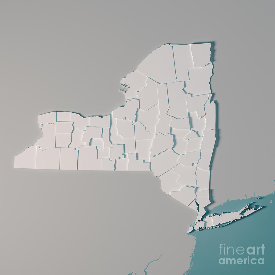 New York Us State Map Administrative Divisions Counties 3d Rende by Frank  Ramspott