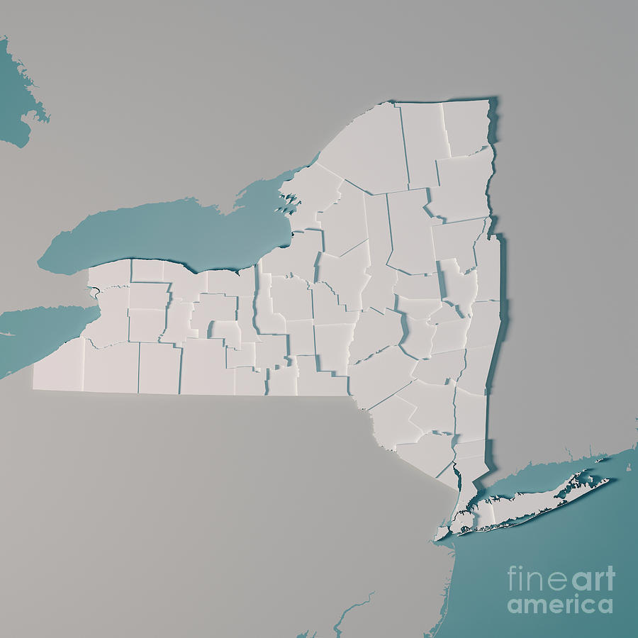 New York Us State Map Great Lakes Counties 3d Rende Digital Art By - Great-lakes-on-the-us-map