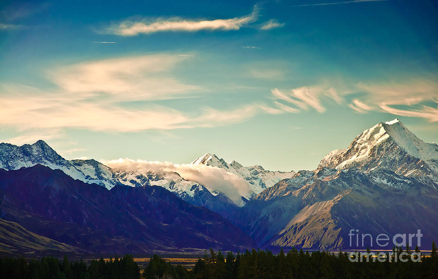 Alps Photograph - New Zealand Scenic Mountain Landscape by Naughtynut