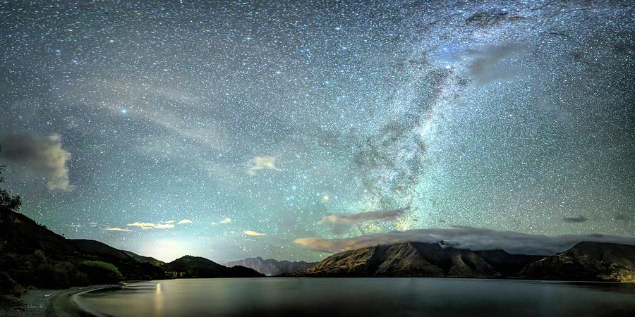 New Zealand Southern Hemisphere Skies Over Lake Wakatipu by OLena Art  by OLena Art