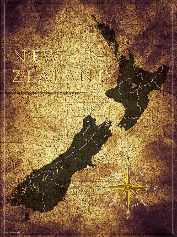 New Zealand Vintage Map Style 10 by Greg Edwards