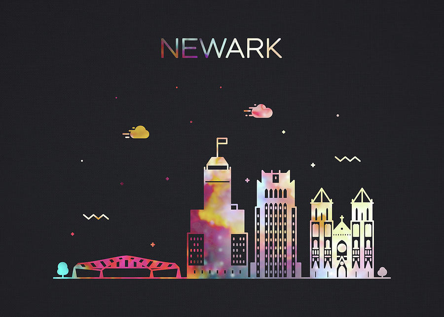 Newark Mixed Media - Newark New Jersey City Skyline Whimsical Fun Wide Dark by Design Turnpike