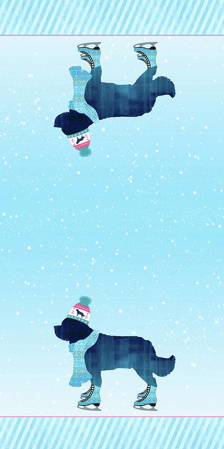 Newfoundland Digital Art - Newfie Skater Towels by Christine Mullis