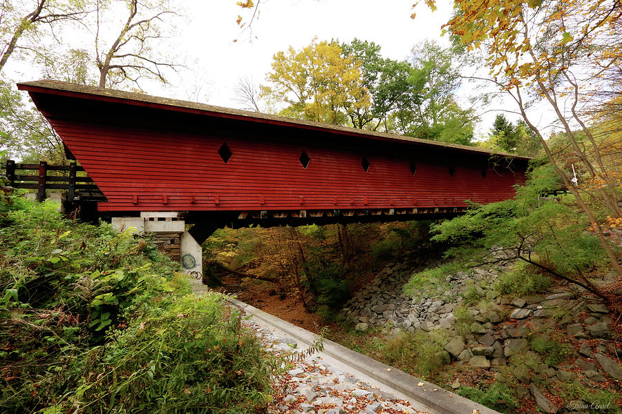 Newfield Covered Bridge in New York by Trina Ansel
