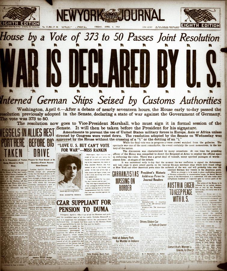 Newspaper Headline War Is Declared Photograph by Bettmann