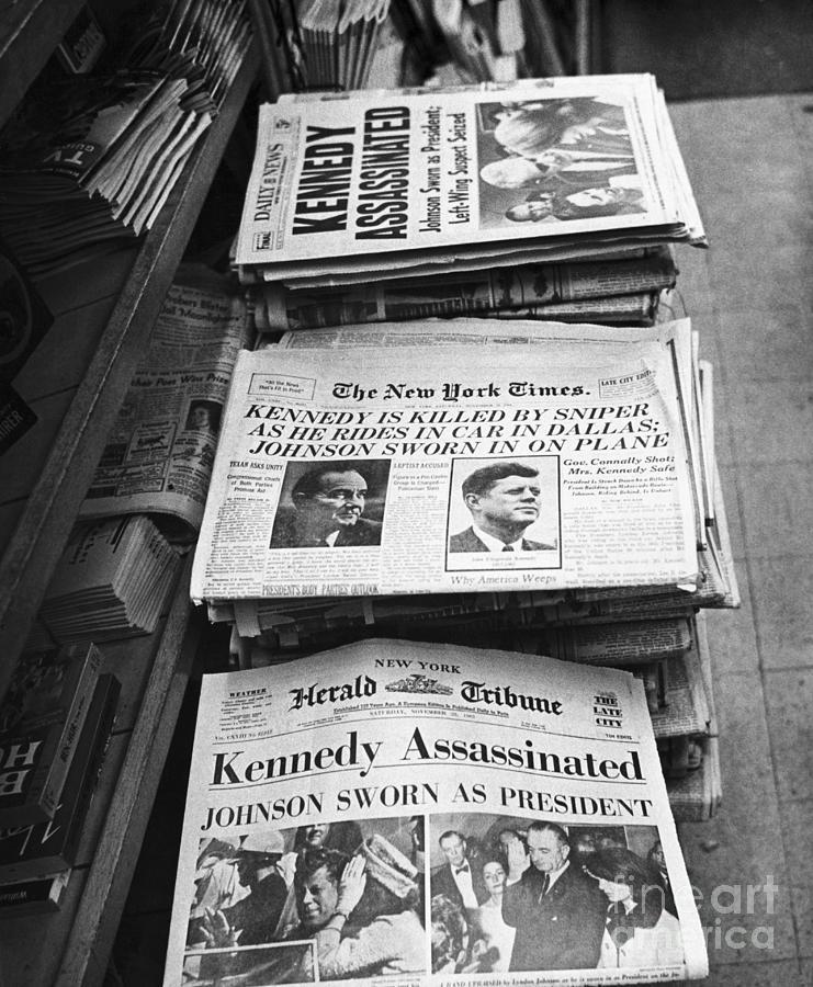 Newspaper Headlines Of John F. Kennedy Photograph by Bettmann