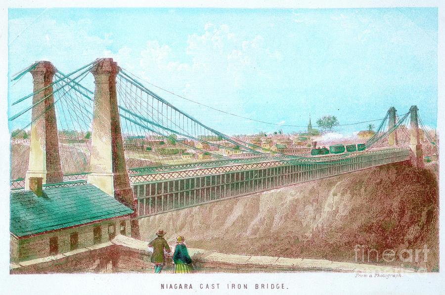 Niagara Cast Iron Bridge, New York Drawing by Print Collector